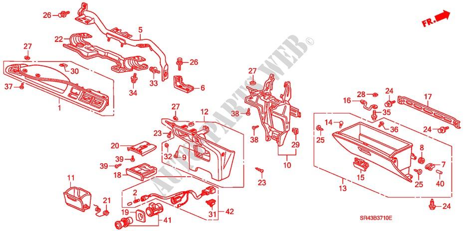 Honda Genuine 66401-SB0-000ZF Glove Box