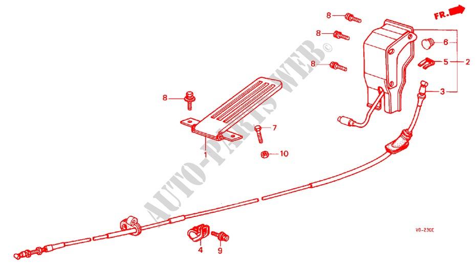 Accelerator Pedal  E Q T U  For Honda Cars Acty Van Dx