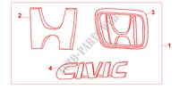 GOLD EMBLEM for Honda Cars CIVIC COUPE 1.6ILS 2 Doors 4 speed automatic 2000
