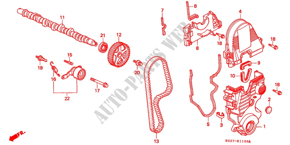 CAMSHAFT/TIMING BELT (SOHC) for Honda Cars CIVIC COUPE 1.6ILS 2 Doors 5 speed manual 2000