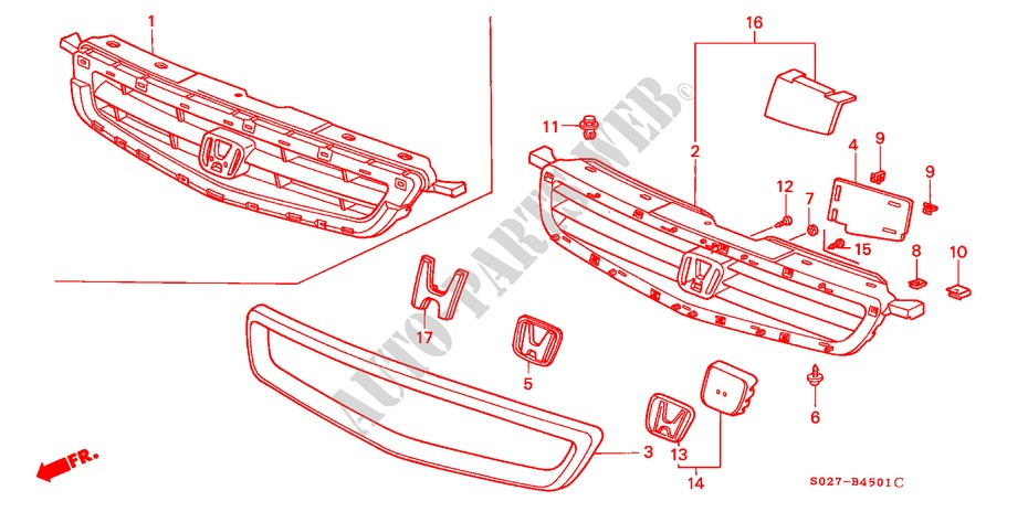 Front Genuine Honda 71122-S00-A01ZG Grille Molding