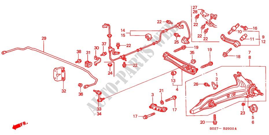 honda cars civic coupe 1998 1 6ils 5 speed manual steering, brake, suspension  rear