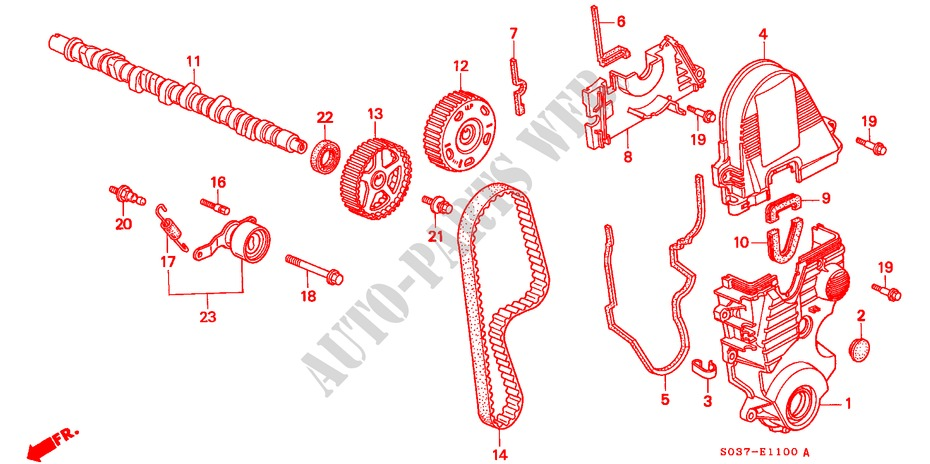 CAMSHAFT/TIMING BELT (SOHC/SOHC VTEC) for Honda Cars CIVIC 1.4I 3 Doors 5 speed manual 1997
