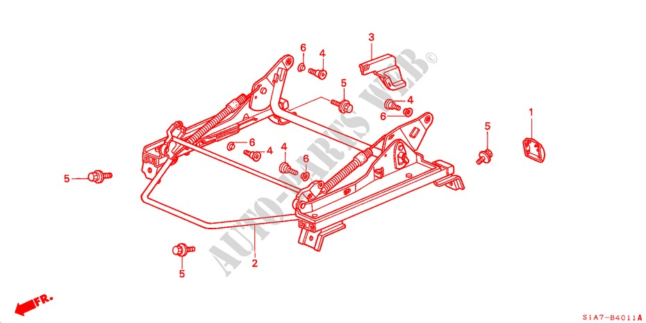 FRONT SEAT COMPONENTS (L.)(2) for Honda Cars ACCORD 2.0ILS 4 Doors 5 speed manual 1999