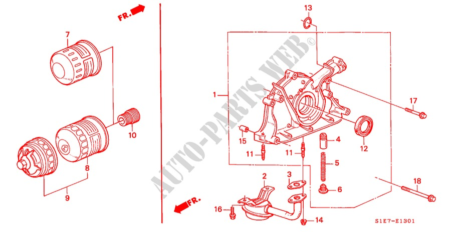 Oil Pump  Oil Strainer  Dohc  For Honda Cars Civic Aerodeck 1 8vti 5 Doors 5 Speed Manual 1998