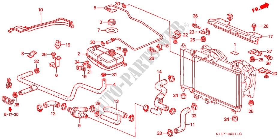 1999 Honda Civic Radiator Hose Diagram