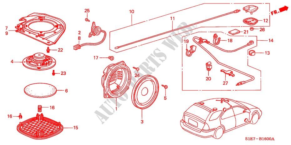 RADIO ANTENNA/SPEAKER for Honda Cars CIVIC AERODECK VTI 5 ... on