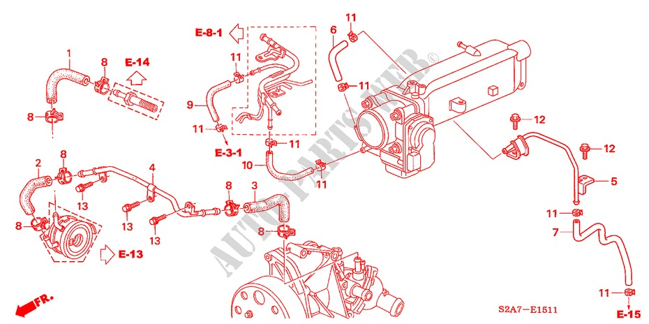 Honda Cars  S2000 2006 S2000 6 manual speeds  ENGINE WATER HOSE ('06-)