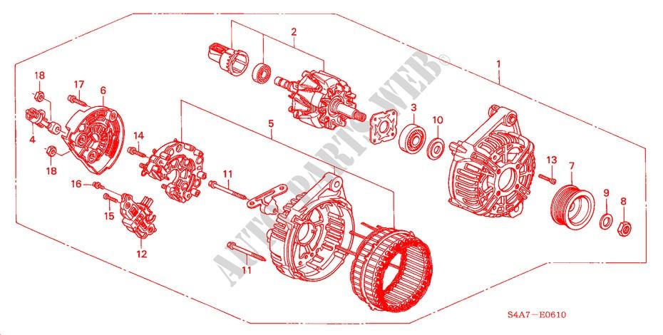 alternator bosch engine 20se executive 2001 accord honda cars rh parts honda uk Bosch Truck Alternator Regulator Alternator Bosch F00ma45230