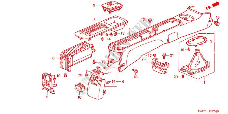 Genuine Honda 83406-S5A-003ZA Center Console Panel