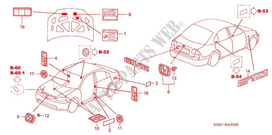 EMBLEMS/CAUTION LABELS for Honda Cars CIVIC HYBRID HYBRID 4 ... on car diagram without labels, car diagram with titles, car drawing with labels, car parts with labels, car model with labels, motor car with labels, car diagram with parts labeled,