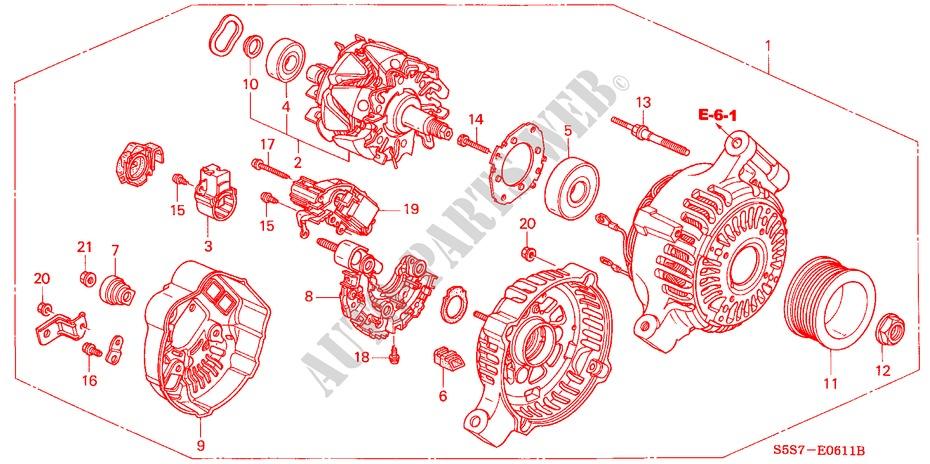 Alternator  Denso  For Honda Cars Civic Type R 3 Doors 6 Speed Manual 2001   Honda Cars