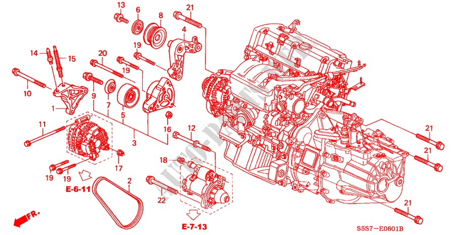 engine mounting bracket (type r) for honda cars civic type r Honda Car Engine Parts Diagram