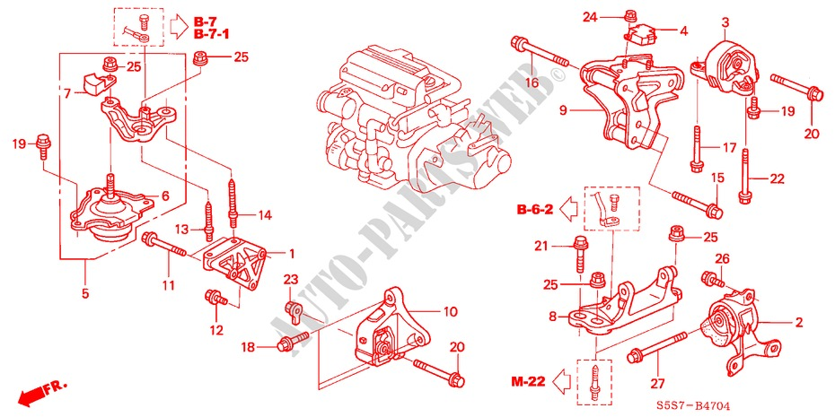 honda cars civic 2002 1 7s 5 speed manual body parts engine mounts (diesel)