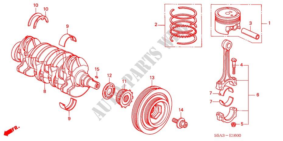 honda cars civic 2003 1 4ls 5 speed manual engine piston/crankshaft (1 4l