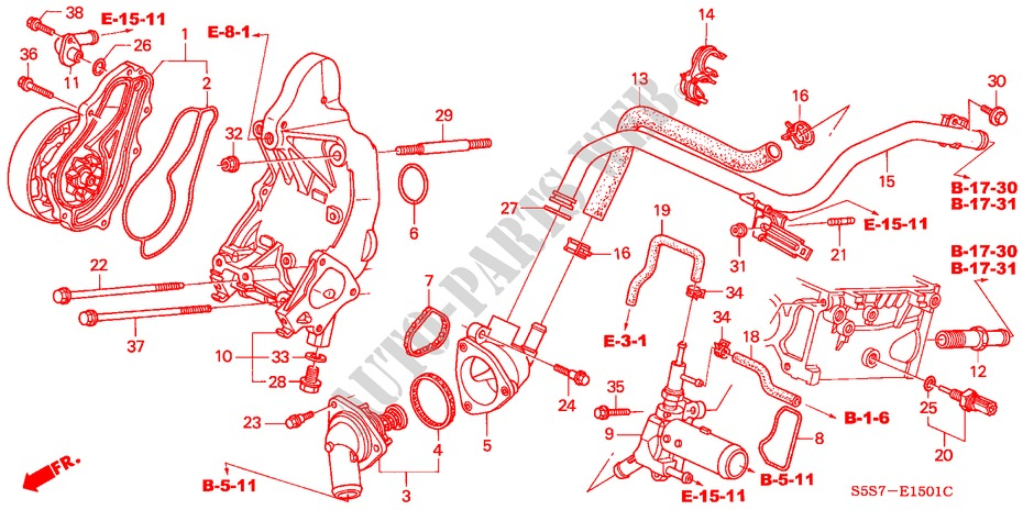 Honda Cars  CIVIC 2004 TYPE R 6 manual speeds  ENGINE WATER PUMP/SENSOR (TYPE R )