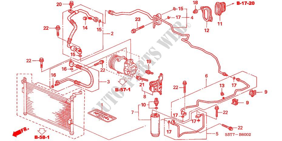 honda cars civic 2005 1 7 sport 5 speed manual body parts air conditioner  (hoses/