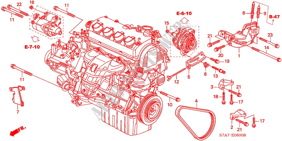 engine mounting bracket 17l engine 17es 2003 stream honda cars rh parts honda uk 04 Honda Civic Vtec Engine 2004 Honda Civic Ex Engine
