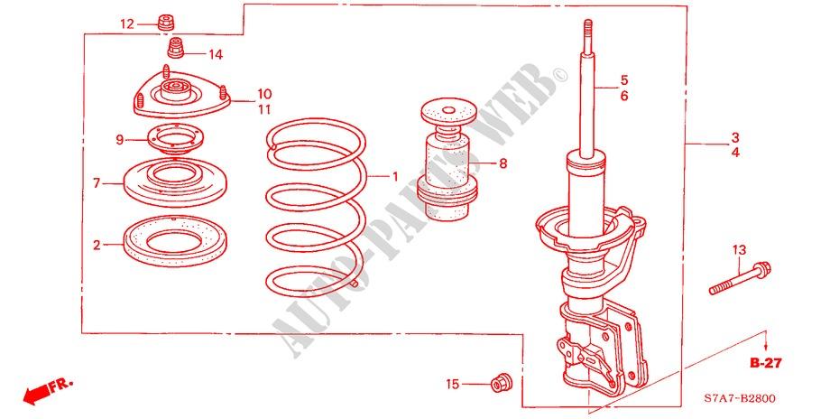 Front Shock Absorber For Honda Cars Stream 1 7es 5 Doors 5