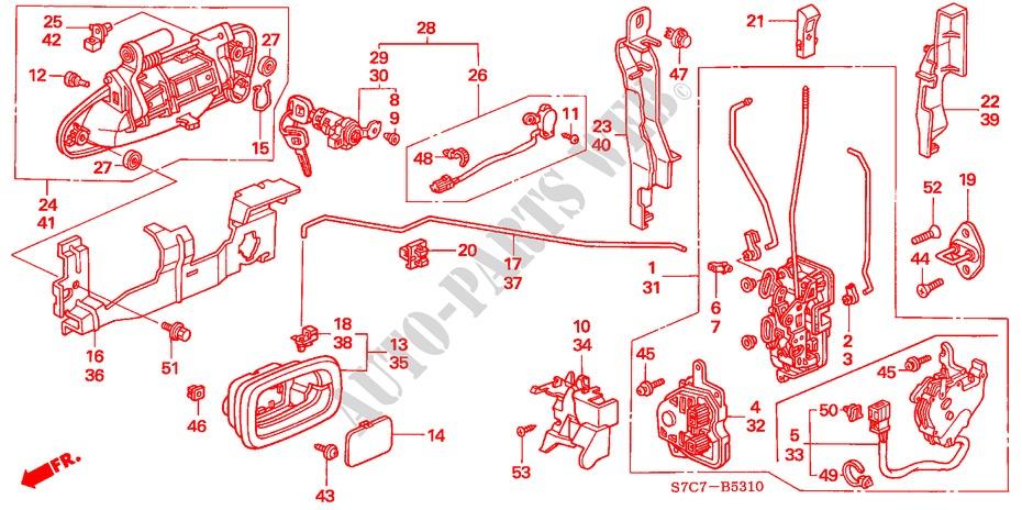 Front Genuine Honda 72180-S7A-J01ZJ Door Handle Assembly Left