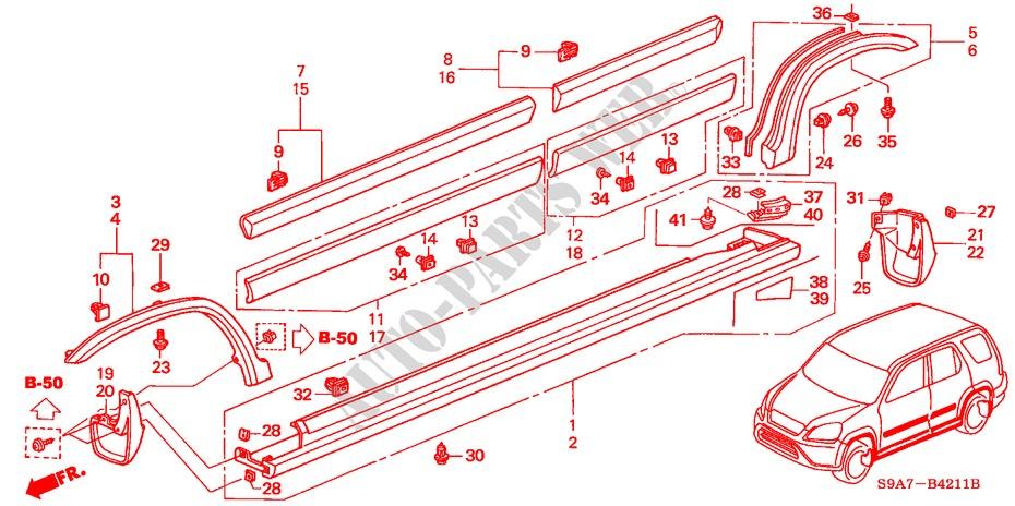 75316-S9A-004 Genuine Honda Clip Door Garnish Lower