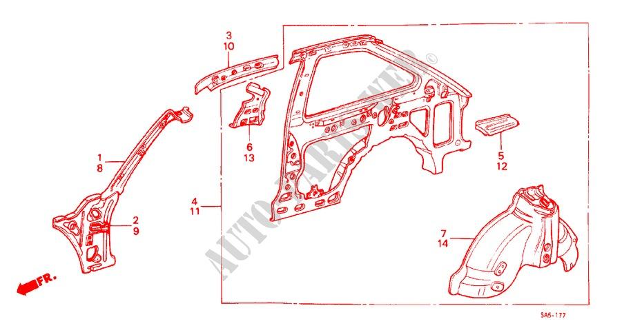 Roof Side Rail 70541-SA5-672ZZ Genuine Honda