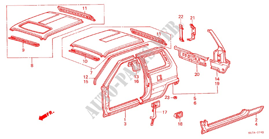 BODY STRUCTURE COMPONENTS (3) for Honda Cars JAZZ DX 3 Doors 5 speed manual 1984