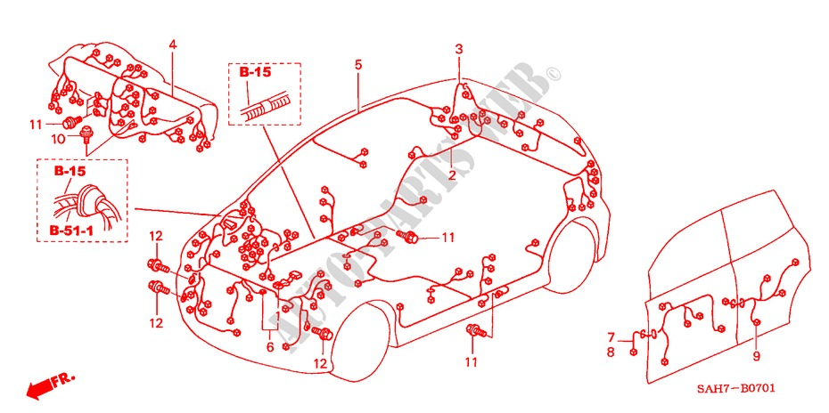 Wire Harness  Rh  For Honda Cars Jazz 1 4 Se 5 Doors 5