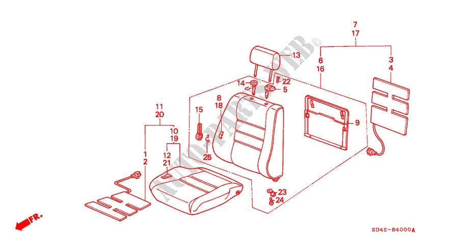 Honda Genuine 77584-SB3-003ZJ Headrest Lock Guide