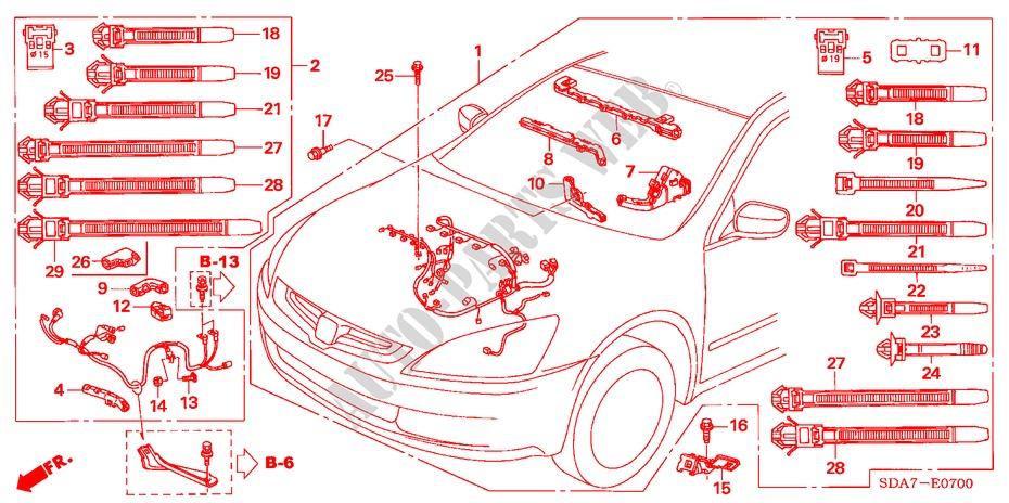 honda cars accord 2004 2 4 vti-e 5 speed manual engine engine wire harness (