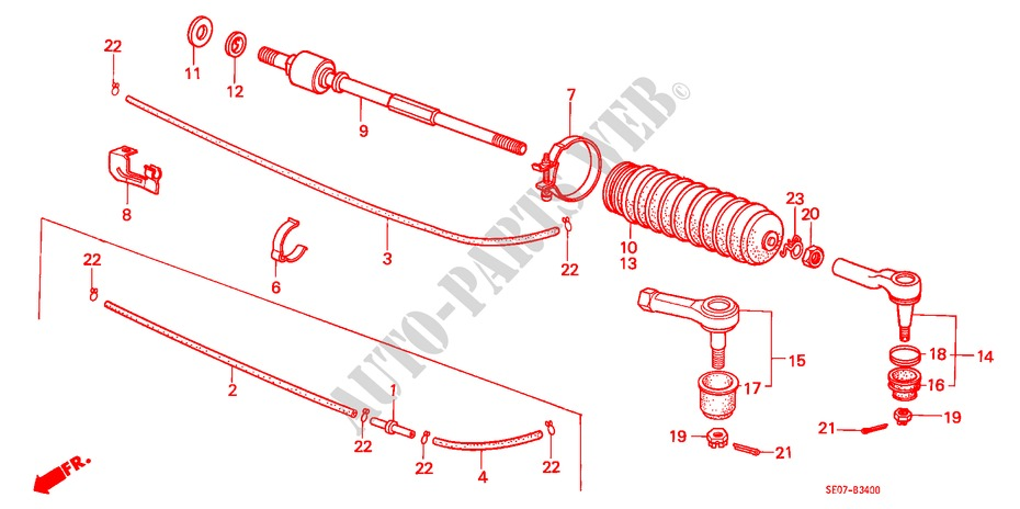 TIE ROD for Honda Cars ACCORD EX-2.0I 3 Doors 5 speed manual 1986
