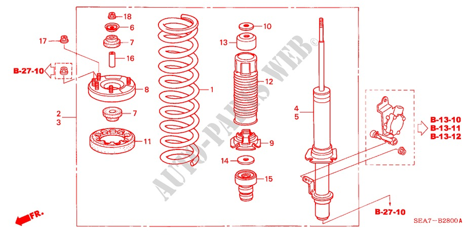 FRONT SHOCK ABSORBER for Honda Cars ACCORD 2.2 SPORT 4 Doors 5 speed manual 2004