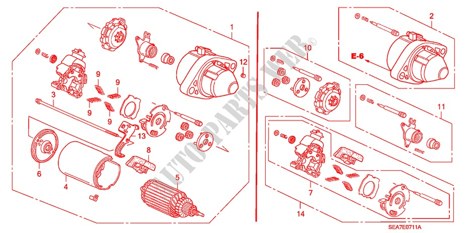 Starter motor mitsuba 05 engine 24 type s 2005 accord for Mitsuba motor solar car