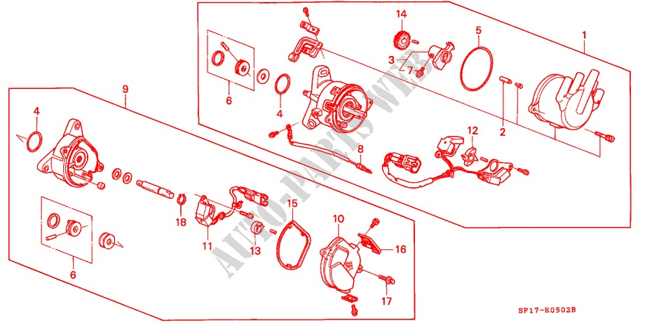 distributor pgm fi engine 20i 16 1989 prelude honda cars honda rh parts honda uk 2001 Honda Civic Wiring Diagram 90 Honda Distributor Diagram