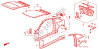 BODY STRUCTURE COMPONENTS (OUTER PANEL) for Honda Cars CIVIC CRX 1.6I-16 3 Doors 5 speed manual 1990