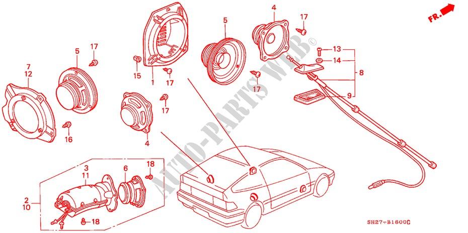 honda cars civic crx 1991 1 6i-16 5 speed manual electrical equipments,  exhaust
