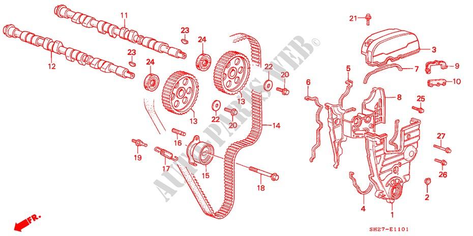 Camshaft Timing Belt Dohc Engine 16i 16 1991 Civic Crx Honda Cars Rh Parts Uk Accord 22 Marks 2014: Honda Accord Engine Timing Mark Diagram At Kopipes.co