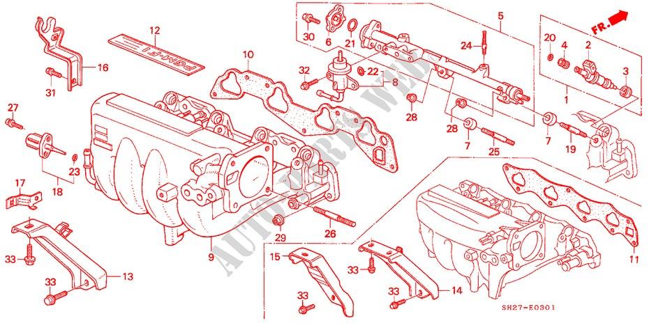 Intake Manifold  Pgm Fi  For Honda Cars Civic Crx 1 6i