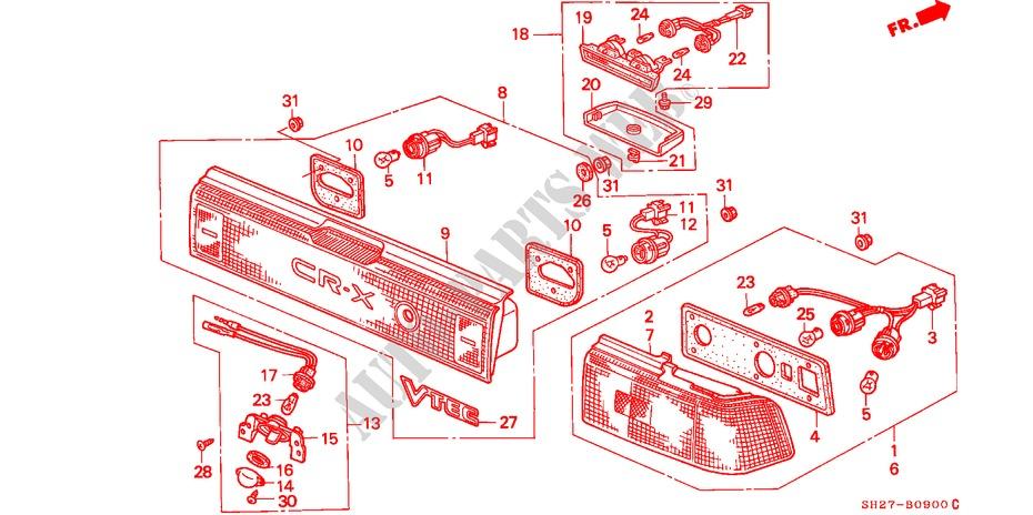 honda cars civic crx 1988 1 6i-16 5 speed manual electrical equipments,  exhaust