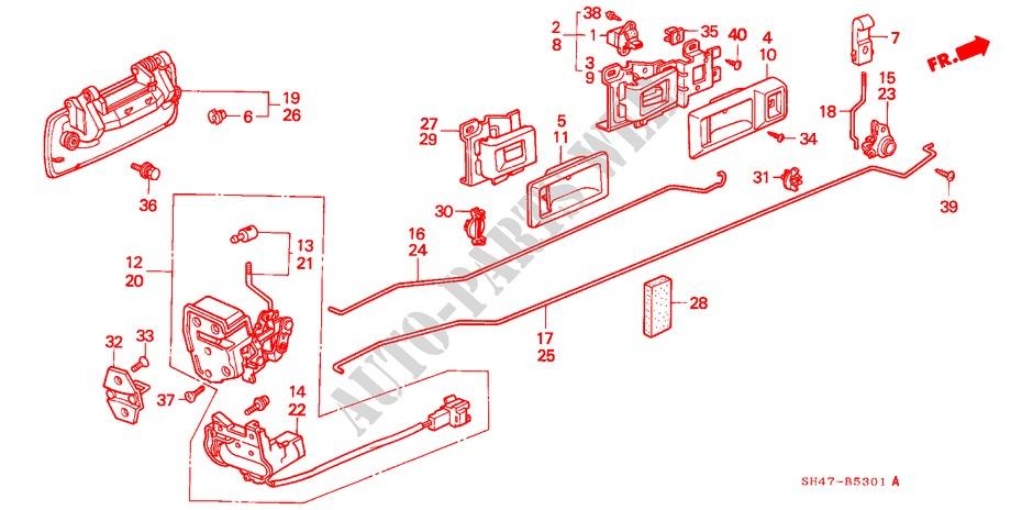 Genuine Honda 72640-SE3-014ZG Door Handle Assembly Right Rear