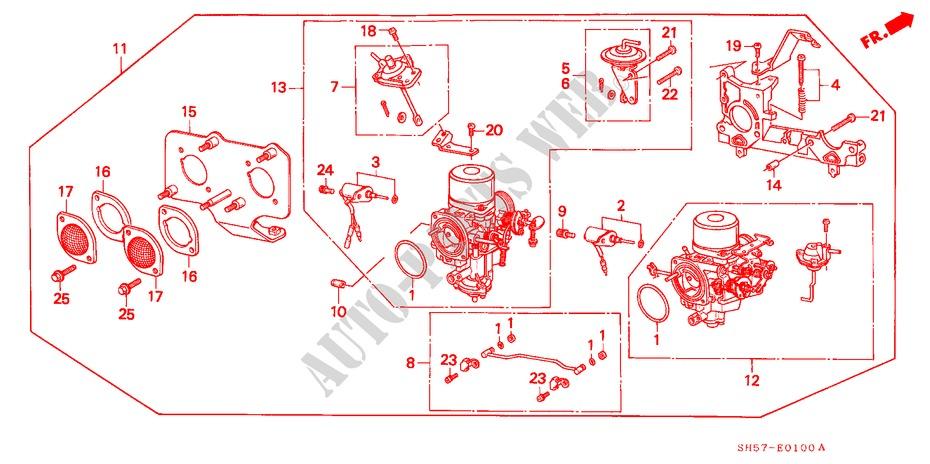 Carburetor  1  For Honda Cars Civic Shuttle Gl 5 Doors 5
