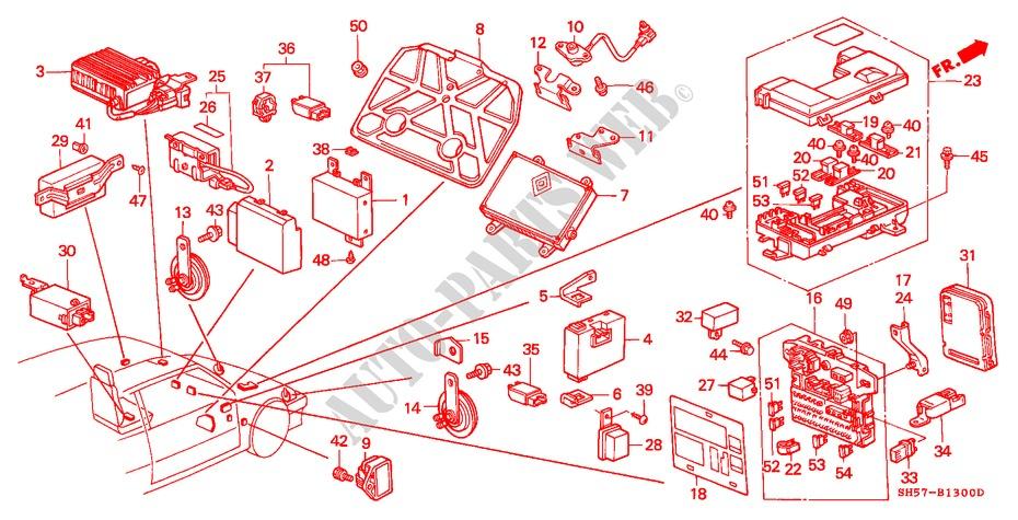 Relay  Horn  Fuse Box For Honda Cars Civic Shuttle Gl 5 Doors 4 Speed Automatic 1990   Honda Cars