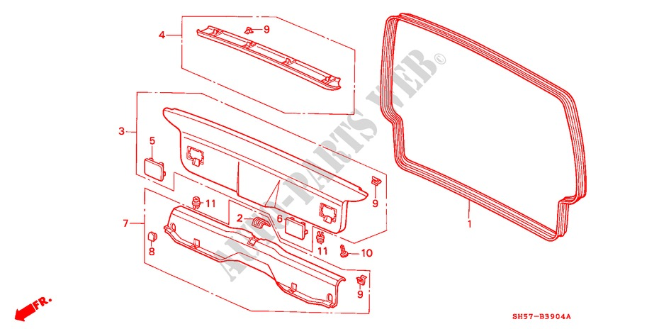 Tailgate Lining Rear Panel For Honda Cars Civic