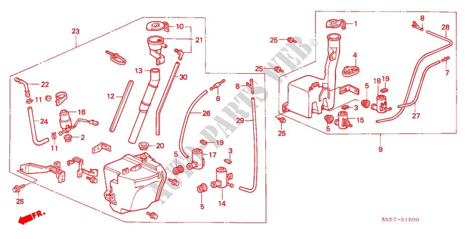 washer tank electrical equipments exhaust heater gl 1990 civic rh parts honda uk 2002 Honda Odyssey Radio Wire Diagram 92 96 Honda Civic Alternater Wiring Schematics