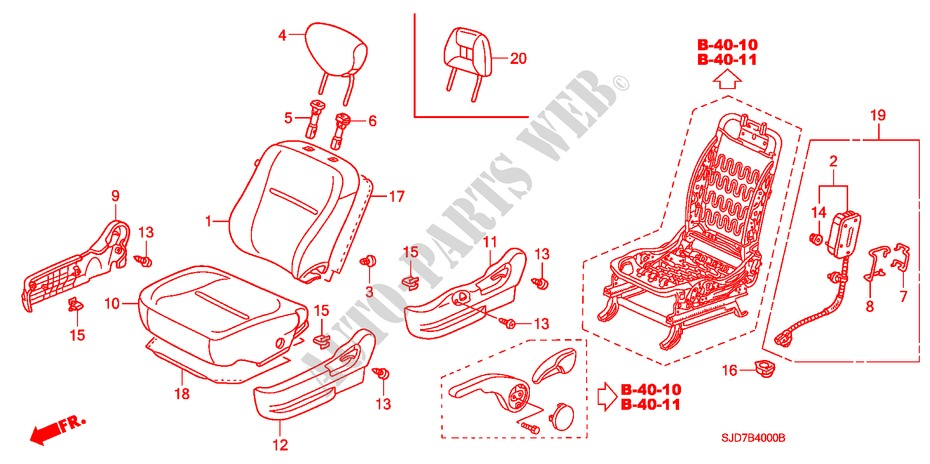 FRONT SEAT(L.) for Honda Cars FR-V 1.8 SE 5 Doors 5 speed automatic 2007