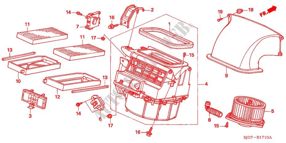HONDA OEM Blower Motor Fan-Frame Left 80291S5A003