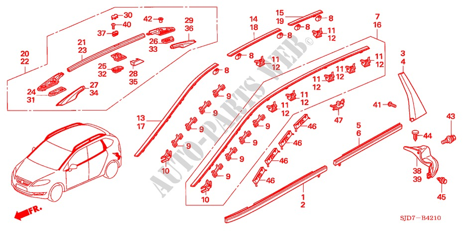MOLDING for Honda Cars FR-V 1.8 SE 5 Doors 5 speed automatic 2007