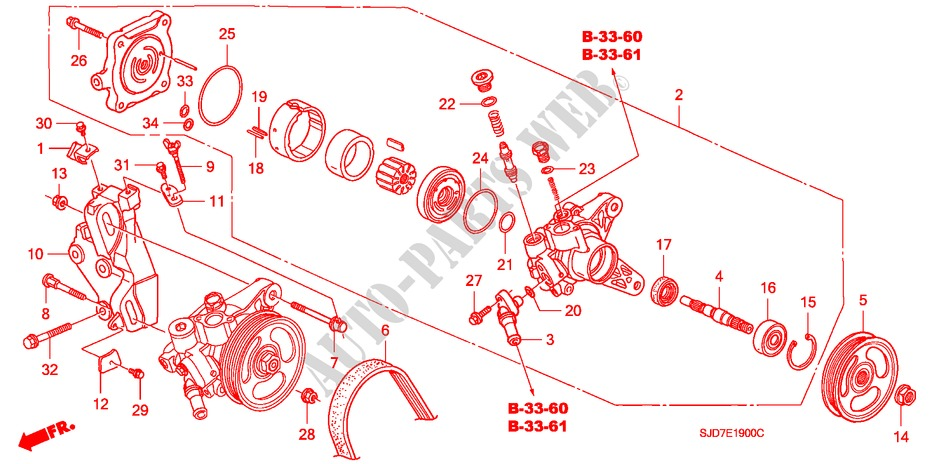 honda cars fr-v 2005 1 7 5 speed manual engine power steering pump/ bracket