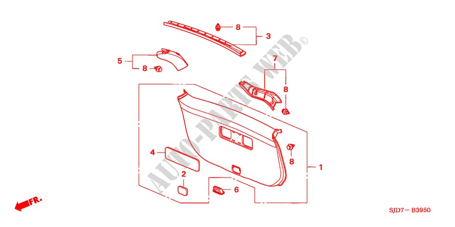 TAILGATE LINING for Honda Cars FR-V 1.8 SE 5 Doors 5 speed automatic 2007