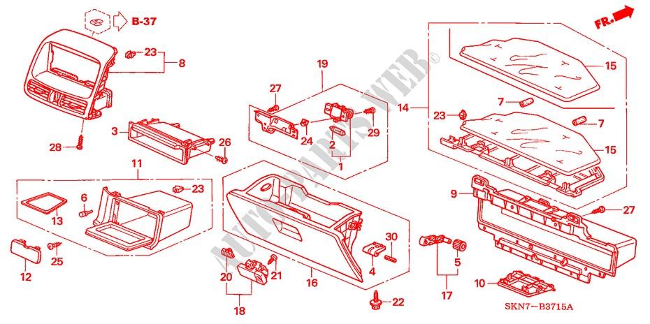 Honda Genuine 77540-S9A-G01ZA Glove Box Lock Assembly